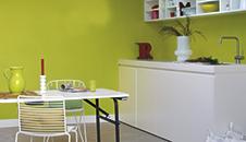 Groene verf voor binnenmuren en plafonds