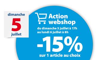 action webshop: -15% sur 1 article le 5 et 6 juillet