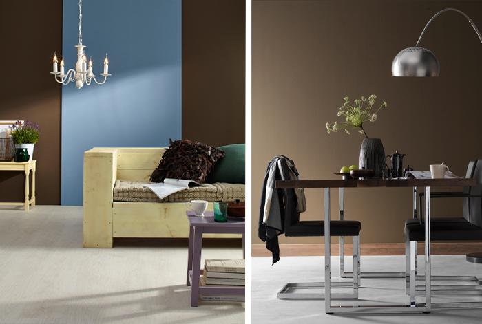zwart grijs en bruin de basis maar daarnaast is er ook ruimte om op een creatieve manier opvallende kleuren zoals oranje zalmroze of felblauw