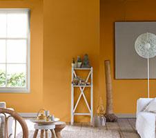 Gele verf voor binnenmuren en plafonds
