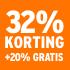 O_32% korting +20% gratis